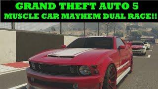 MUSCLE CAR MAYHEM DUAL RACE!! | GTA 5 | GUNNERS ALIVE