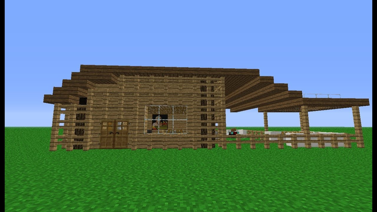 Minecraft how to build a small wooden house youtube for How to build a timber frame house