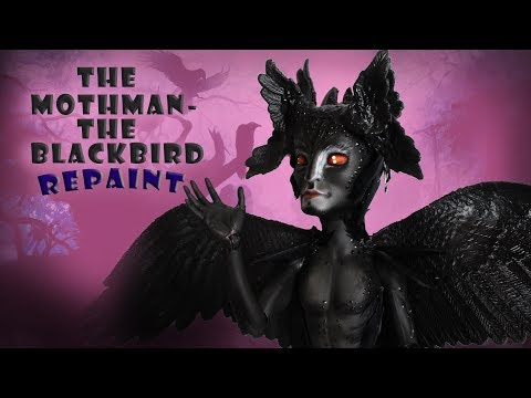 🎃🐦🕷HALLOWEEN  THE BLACK BIRD - THE MOTHMAN  OOAK Doll🕷🐦🎃