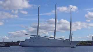 World Largest Sailing Ship Yacht A - Test Run - Kiel / Germany