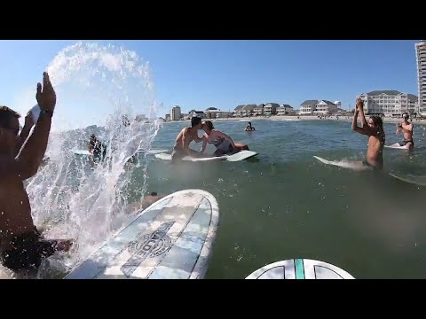 Surfers Wed In Ocean In North Myrtle Beach