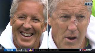 Pete Carroll Gets Hit by Football During Pregame Warmups
