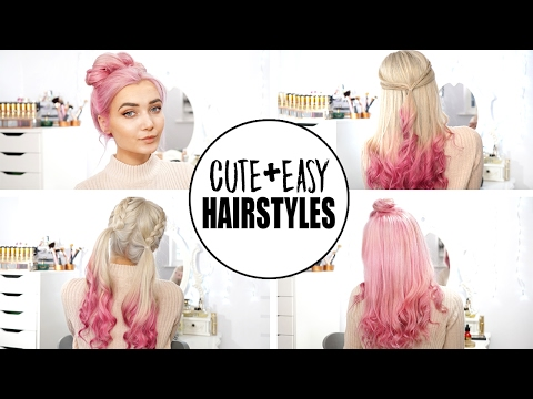 4 Cute & Easy Hairstyles | New Pastel Pink Hair! AD