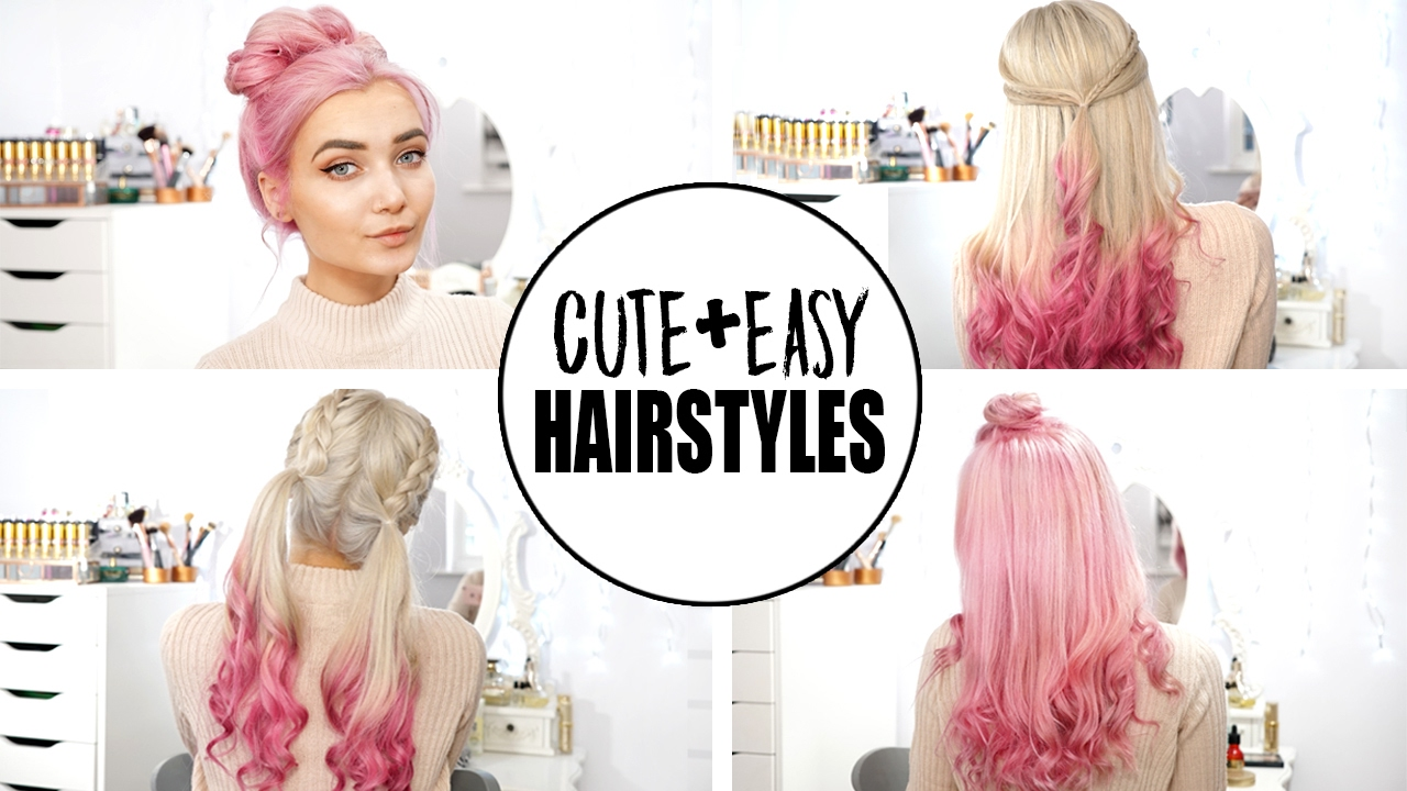 4 Cute & Easy Hairstyles | New Pastel Pink Hair! AD - YouTube