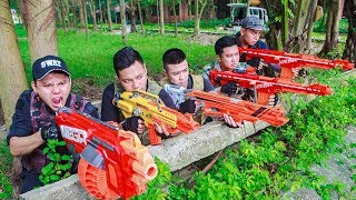 LTT Nerf War :  Two Police SEAL X Warriors Nerf Guns Fight Criminal Group Protect Arsenal