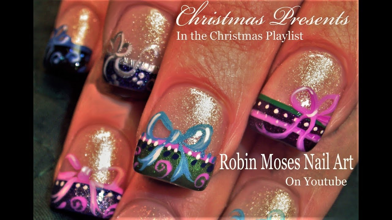 Christmas Presents Nail Art Ribbons And Bows Nails Designed For