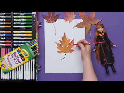 leaves-from-frozen-ii-/-crayola-watercolour-pencils-for-kids