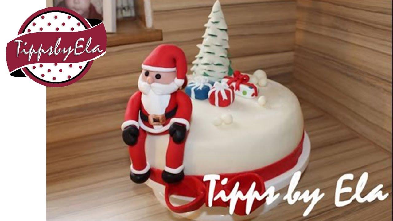 Weihnachtstorte selber machen mit Weihnachtsmann und