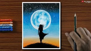 Oil Pastel Drawing for Beginners - Alone Girl at Night - Step by step