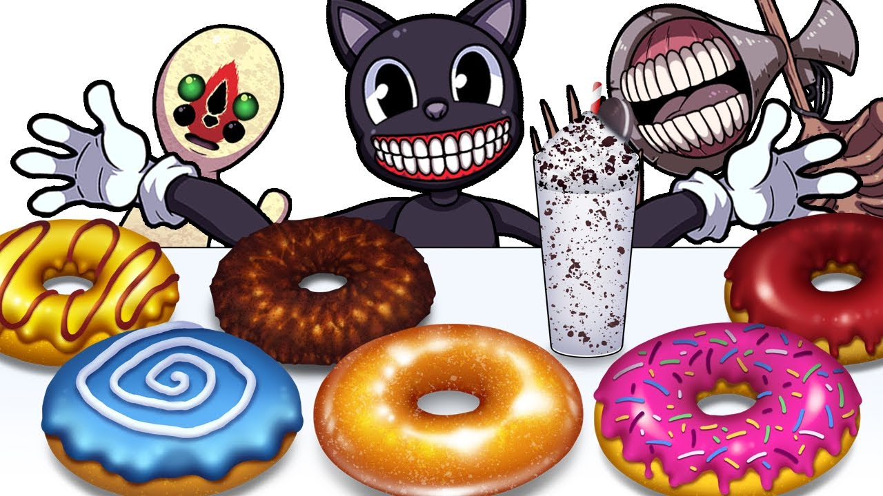 Mukbang Animation Sweet donuts Set eating Cartoon cat