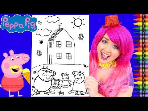 Coloring Peppa Pig & Family House JUMBO Coloring Page Crayola Crayons | KiMMi THE CLOWN
