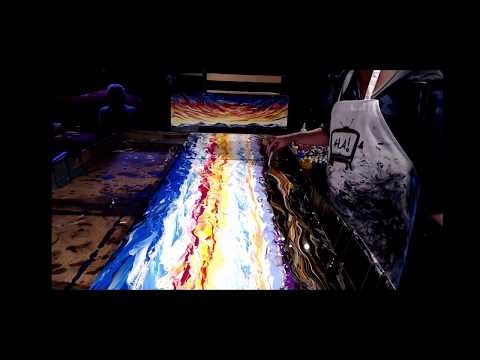 Painting the Grand Vista- Advanced technique- fluid art-controlled pour paintings by AlleyVision