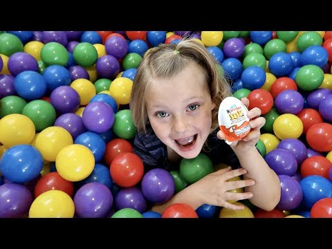 KINDER EGG SURPRISE TOY HUNT! | Giant Ball Pit