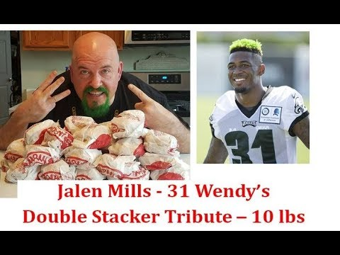 World Record - Jalen Mills #31 Wendy's Double Stacker Tribute - 10 lbs of burgers w/Brandon Clark