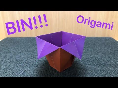 ORIGAMI PAPER BIN. How to make a paper Bin.