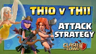 Strong TH10 vs TH11 Attack Strategy - Queen Charge Valks CoC War Raids 2017   Clash of Clans