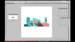 """Урок 1. Курс """"Компьютерная графика в Illustrator"""". Иллюстрация из простых форм """"Город""""."""