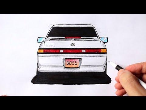Как нарисовать машину Toyota Mark 2 | Ehedov Elnur
