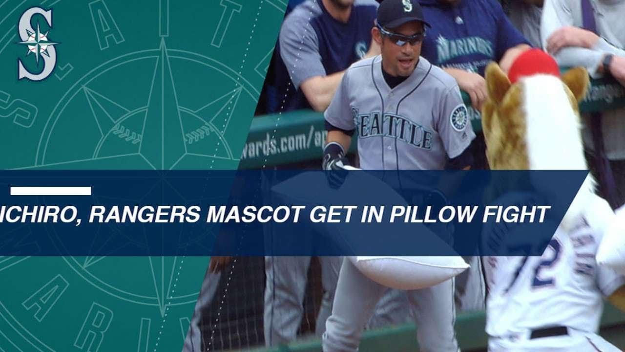 Ichiro Suzuki And Mascot Battle It Out With Pillows