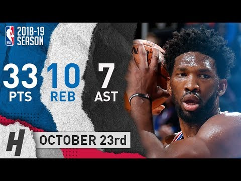 Joel Embiid Full Highlights 76ers vs Pistons 2018.10.23 - 33 Pts, 6 Ast, 10 Reb!
