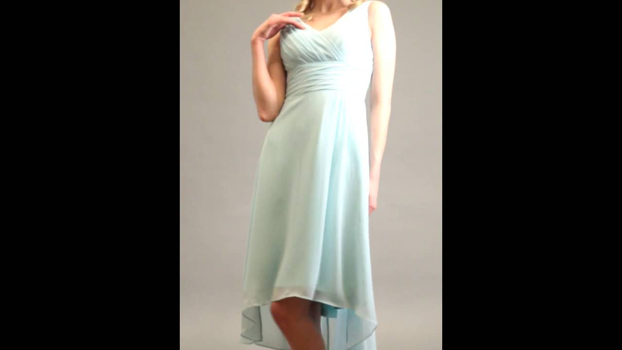 d0ca332c4d High-Low Chiffon Sleeveless V-Neck Dress With Ruching(Style ZP 102346)