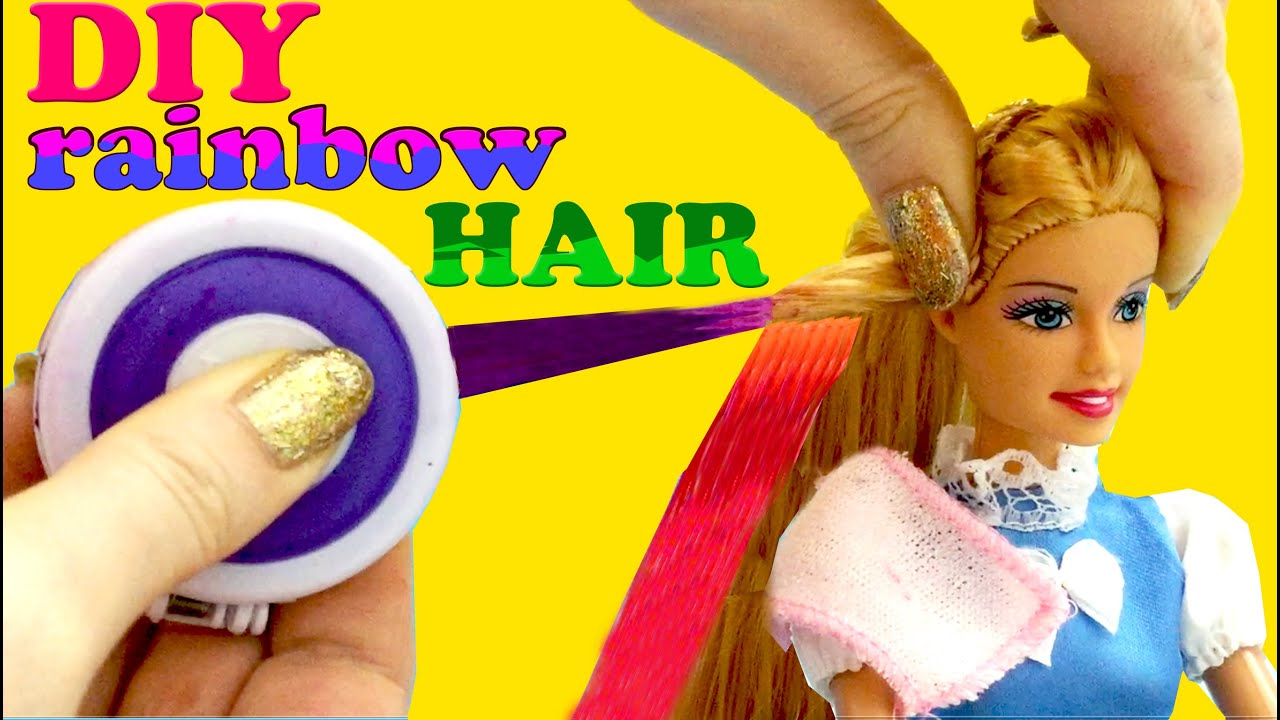 diy rainbow hair barbie