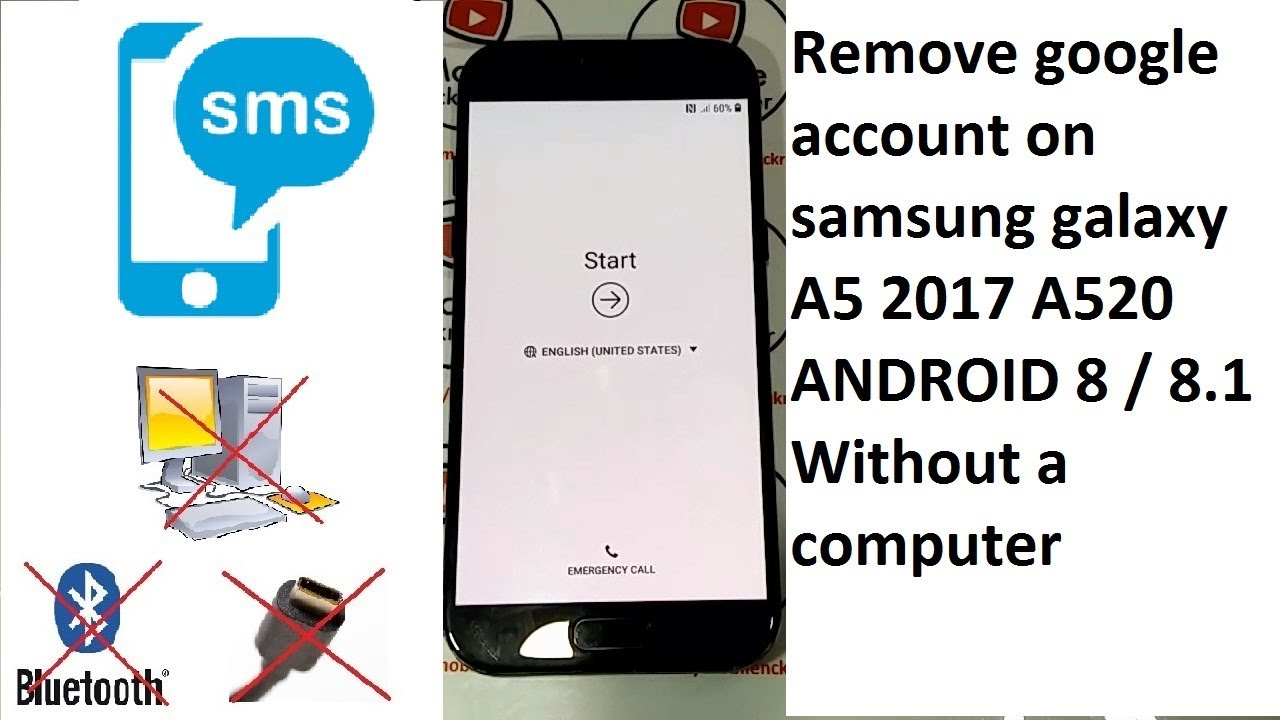 remove google account on samsung galaxy a5 2017 a520 android 8 to 8 1  Without a computer by Mobilenckreader