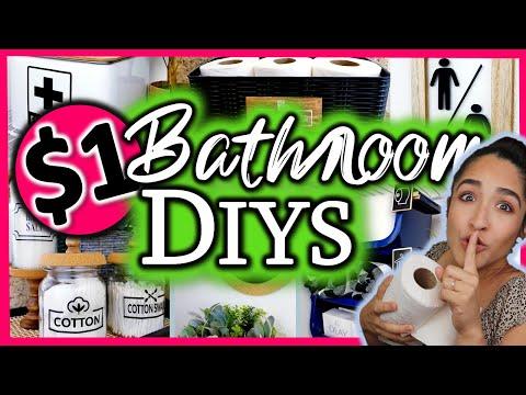 DOLLAR TREE DIY BATHROOM DECOR Ideas + Easy $1 Organization HACKS!