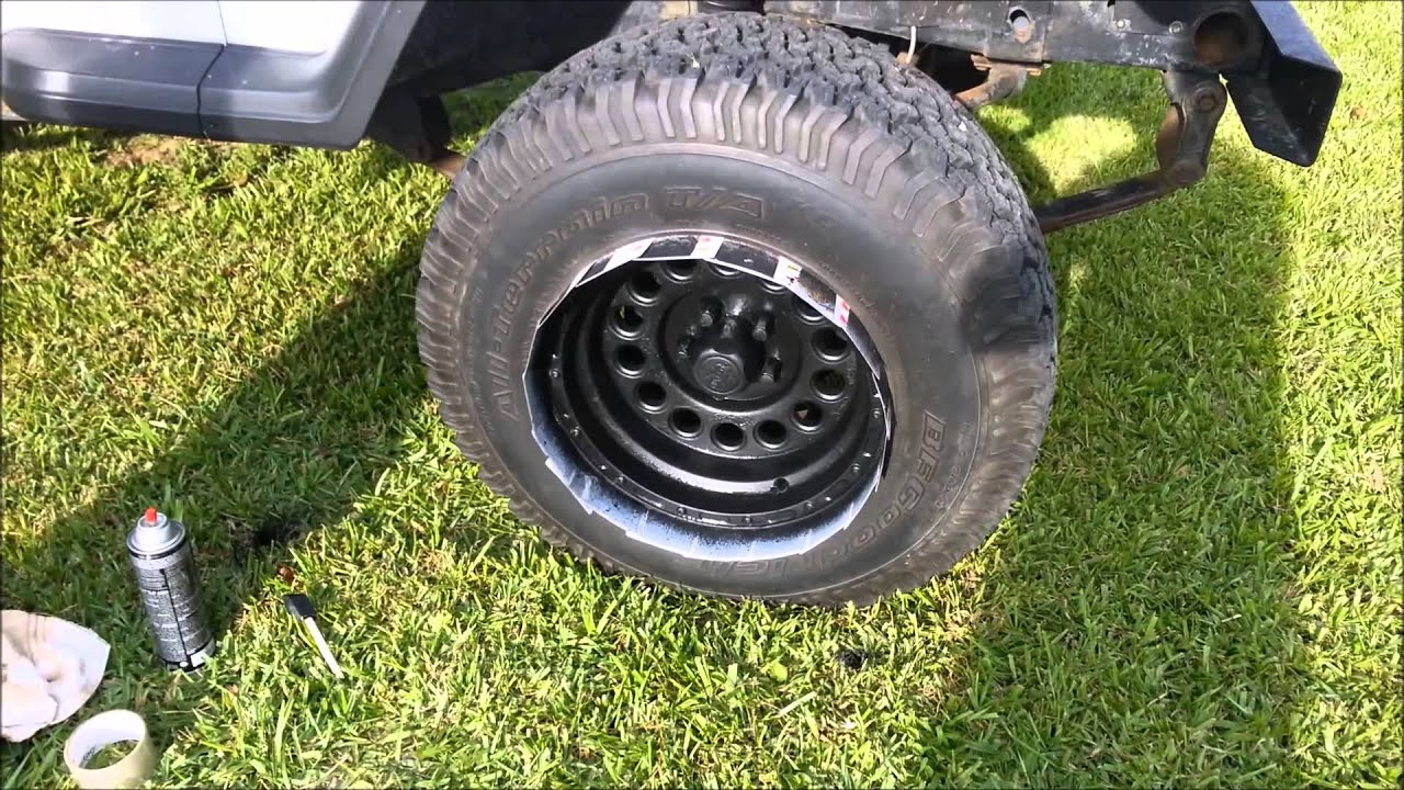 how to spray paint chrome rims black with bed liner - youtube
