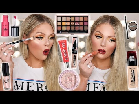 FULL FACE OF NEW DRUGSTORE MAKEUP TESTED | KELLY STRACK thumbnail