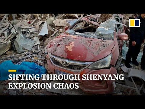 Rescuers pick through the wreckage of fatal blast in Shenyang, China