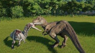 T-Rex(Modified) VS 2 Allosaurus, 2 Carnotaurus and 2 Suchomimus - Jurassic World Evolution