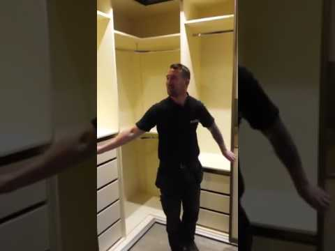 Four door corner sliding wardrobe - YouTube Sliding Door Corner Wardrobes on