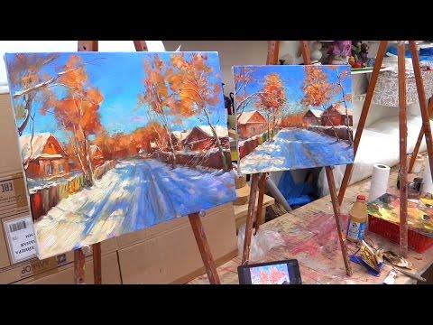 Солнечный день. Мастер-класс на двух холстах. Master class on two canvases