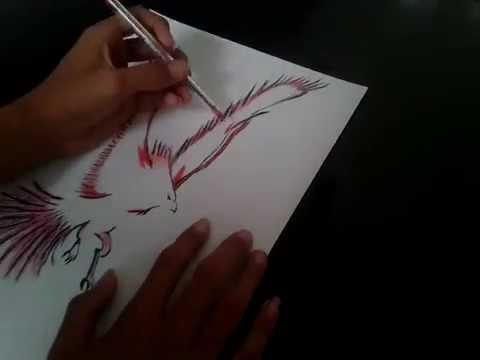 Como Dibujar Un Fénix A Lapiceros Ave De Fuego Youtube
