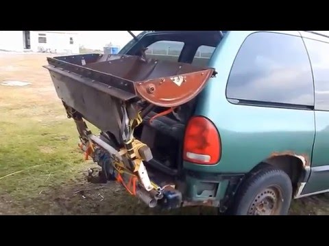 Homemade Pipe in Pipe Snowplow mounting system ties onto Redneck minivan for easy snow removal
