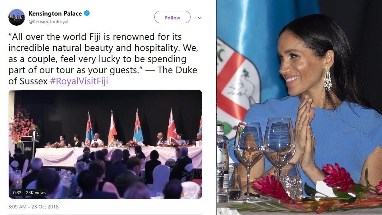 Prince Harry speech at Fiji state dinner: 'It really is a privilege to be  here'