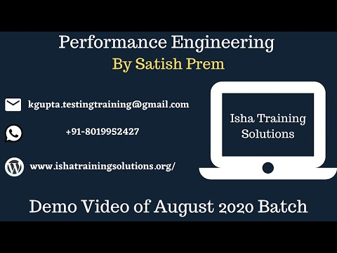 Performance Engineering Demo Video 6th August 2020