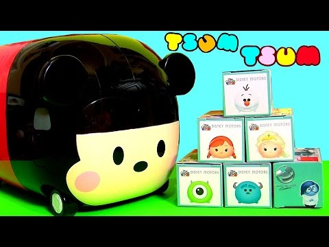Disney Frozen Tsum Tsum Anna Elsa Olaf with Disney Tsum Tsum Motors Mickey Mouse Storage Case