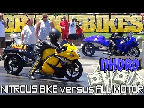 HOCUS POCUS (all motor) vs KILLER B street tire grudge bike race Nhdro 2017