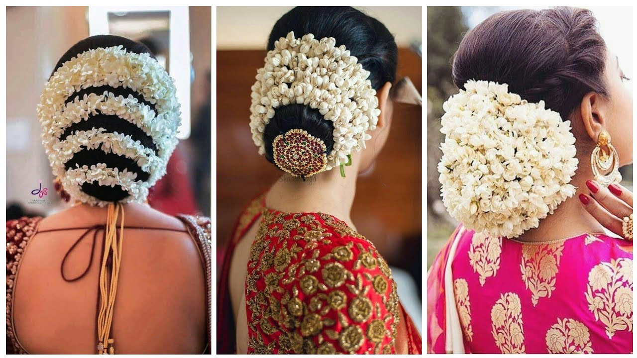 55+ fab hair bun with jasmine flowers garland collection | hair bun with  gajra hairstyle for wedding