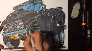 Drawing a 1985 Dually - Timelapse