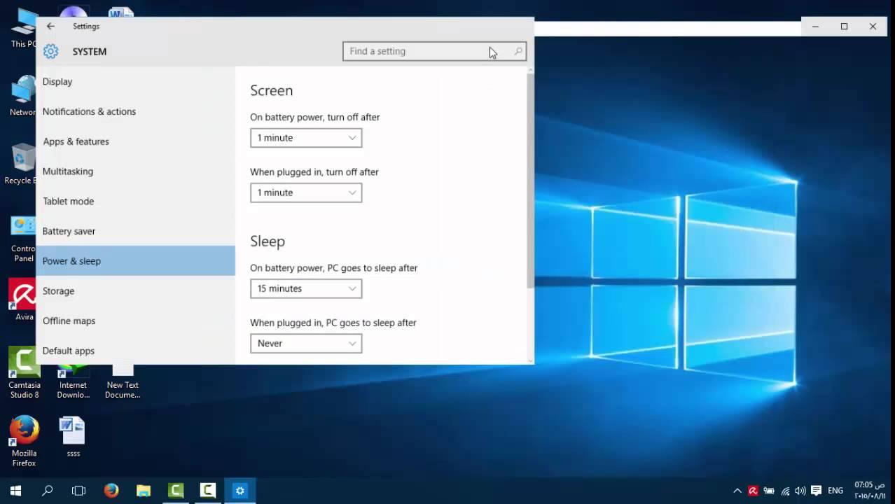 تعطيل وضع السكون Windows 10  Youtube