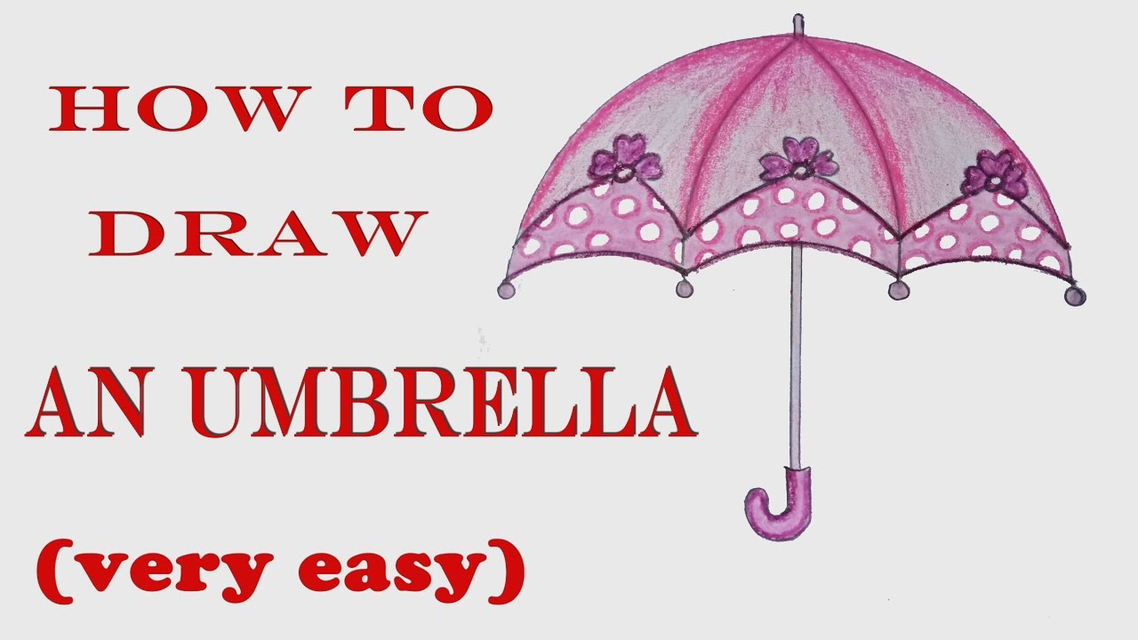 d32eff66f860f How to draw umbrella step by step ( very easy ) - YouTube