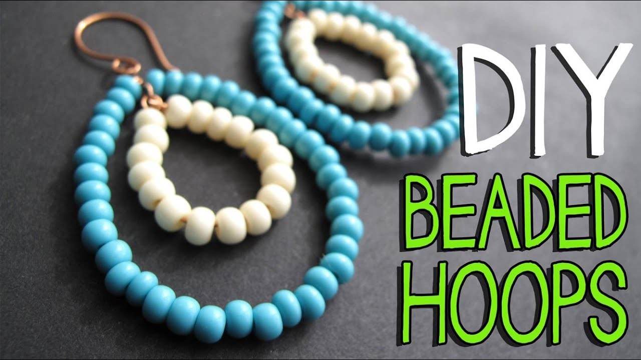 Diy Beaded Wire Hoop Earrings Tutorial Jewelry Making