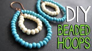 DIY Beaded Wire Hoop Earrings Tutorial - Jewelry Making Tutorial