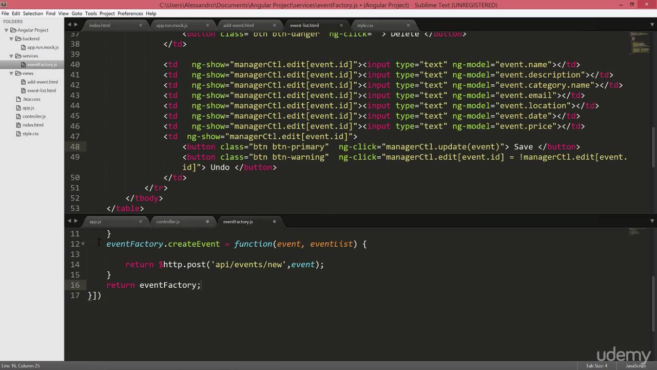 09 CRUD APIs Angular JS - 003 Inline Editing and UpdateEvents