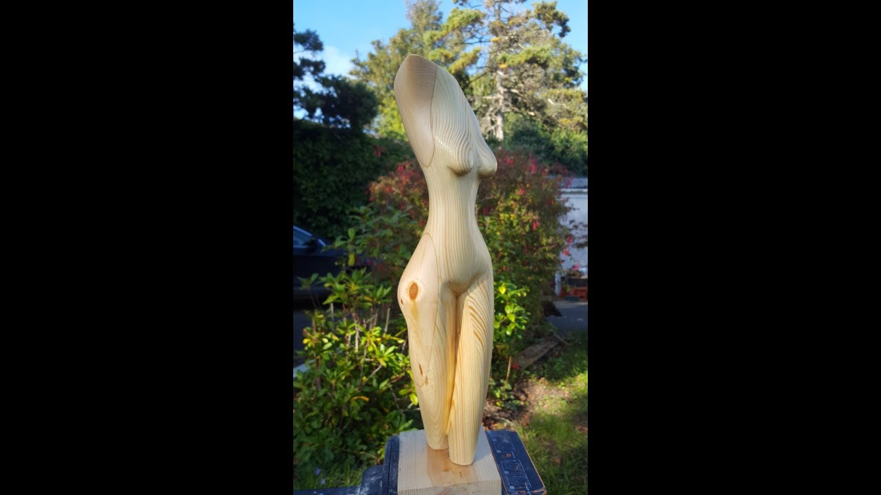 carving a female torso from Pine - Wood Carving
