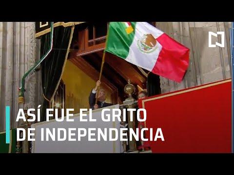 El presidente Andrés Manuel López Obrador da el Grito de Independencia desde Palacio Nacional