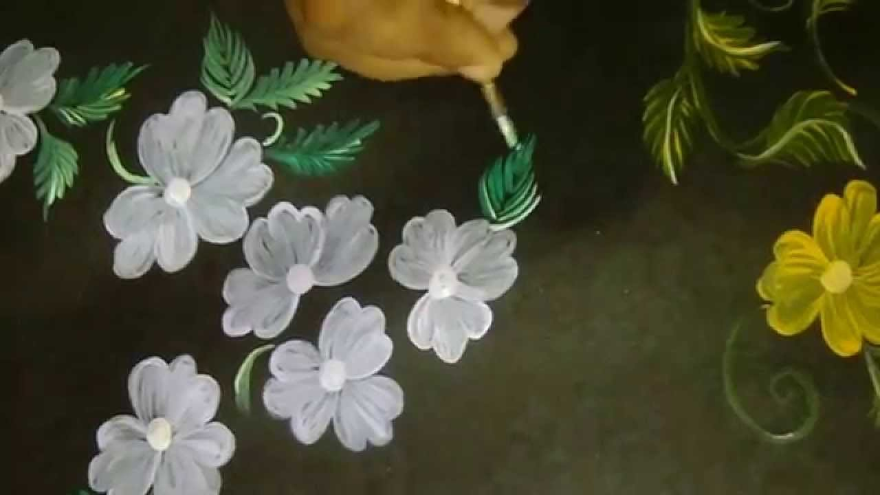 Free Hand Fabric Painting Flowers